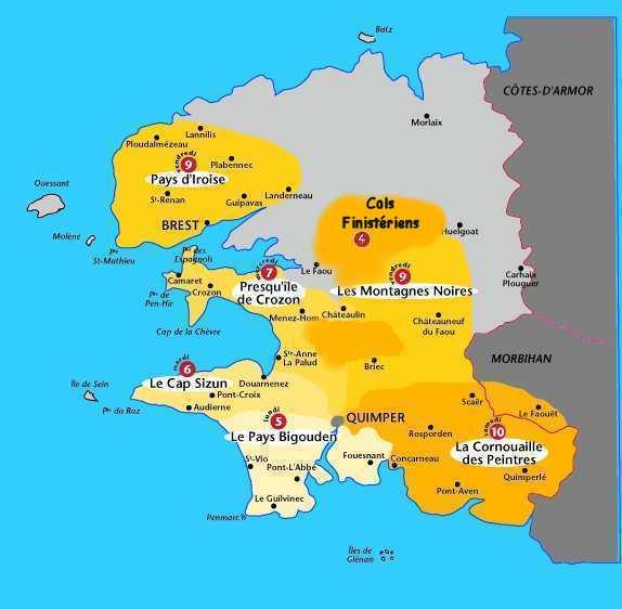 Carte Bretagne Quimper.Semaine Federalee Quimper